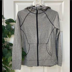 Black/White Striped zip up hoodie